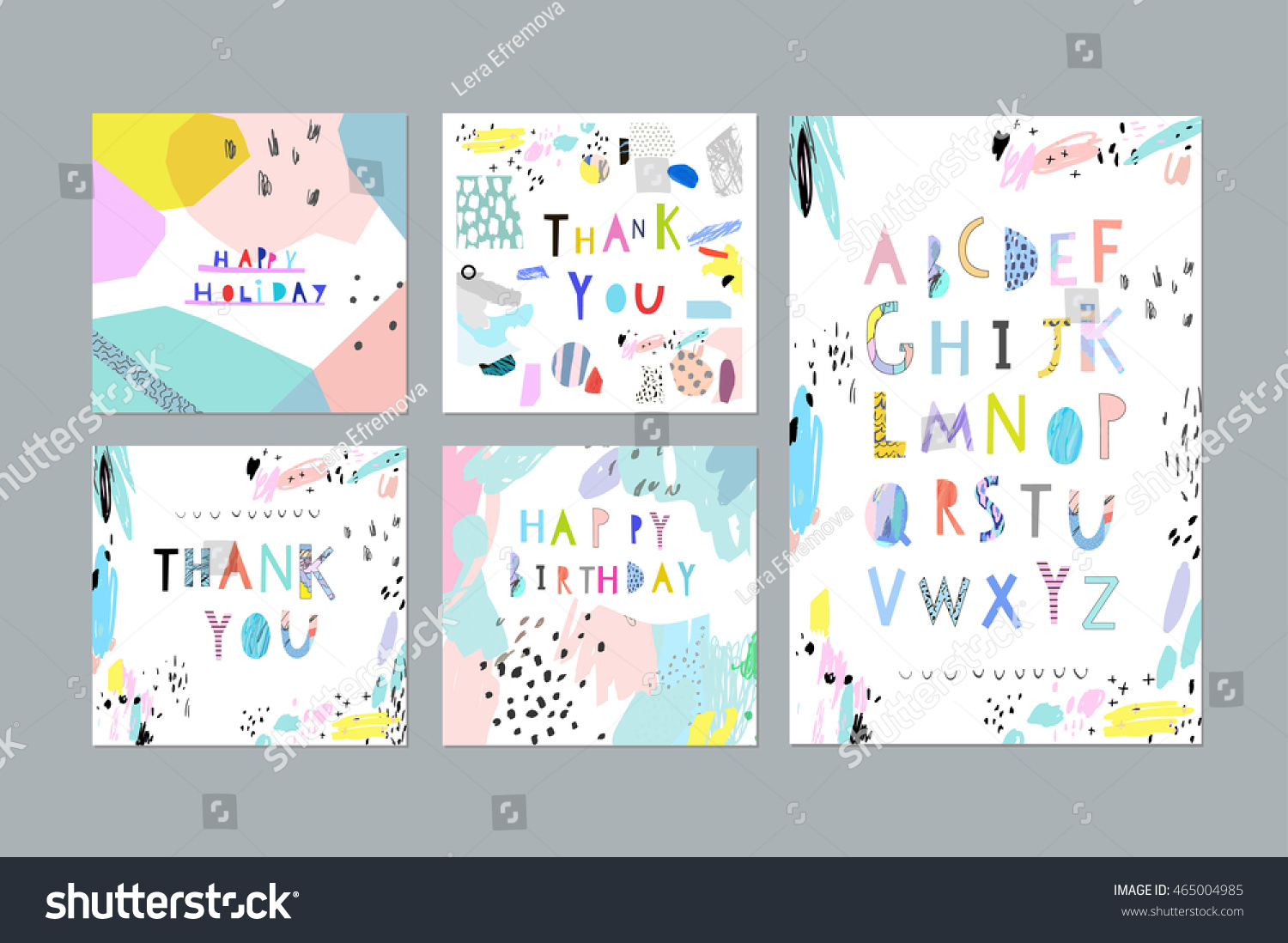 thank you happy birthday happy holiday cards and posters plus hand drawn artistic alphabet - Artistic Holiday Cards