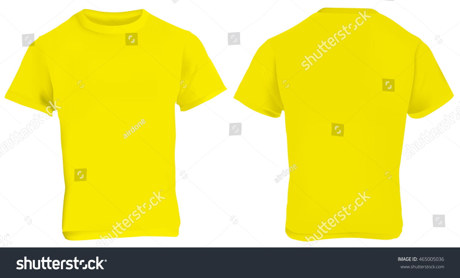 White t shirt front and back template - Vector Illustration Of Blank Yellow Men T Shirt Template Front And Back Design Isolated