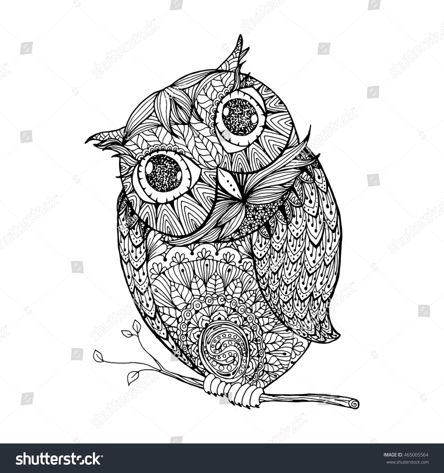 Zentangle style owl Isolated illustration with ornanets fill for adult coloring book page design antistress ink drawing