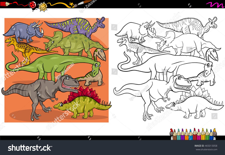 Cartoon Illustration Of Dinosaur Characters Coloring Book Activity