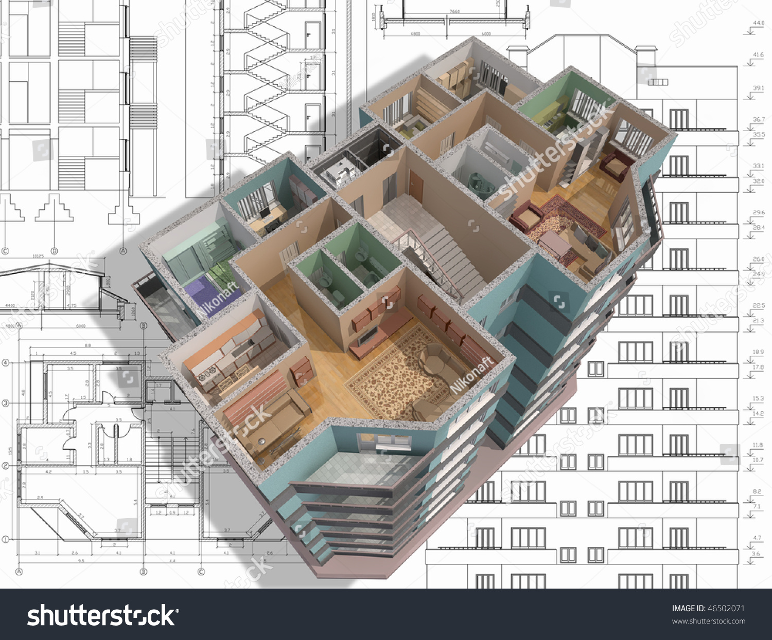 3d isometric view the cut residential house on architect u0026 39 s
