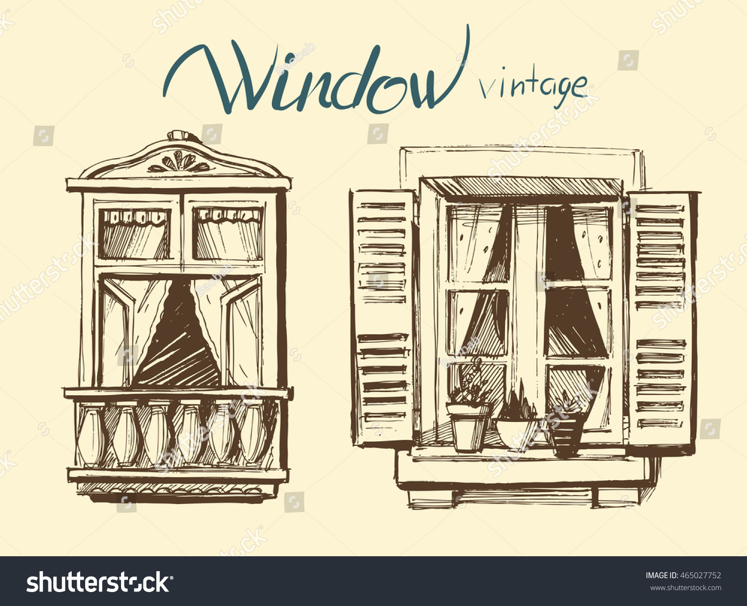 Vintage window vector sketch stock vector 465027752 for Window design sketch