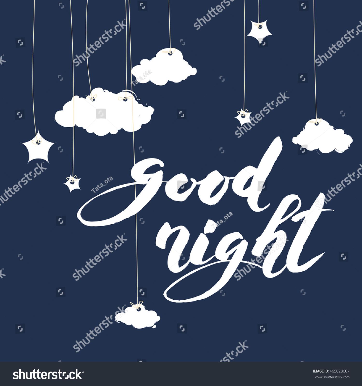 Good Night Inscription Greeting Card Calligraphy Stock Vector