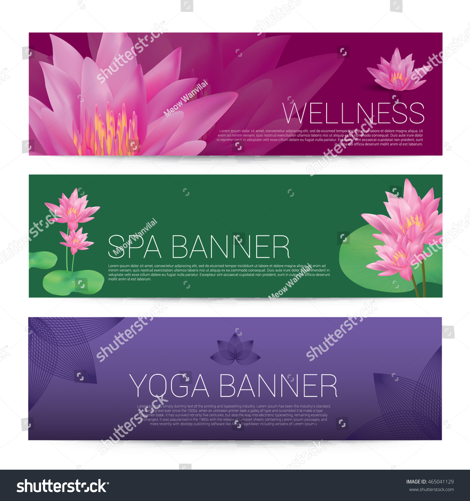 Wellness Spa Yoga Banner Template Flyer Stock Vector Royalty Free