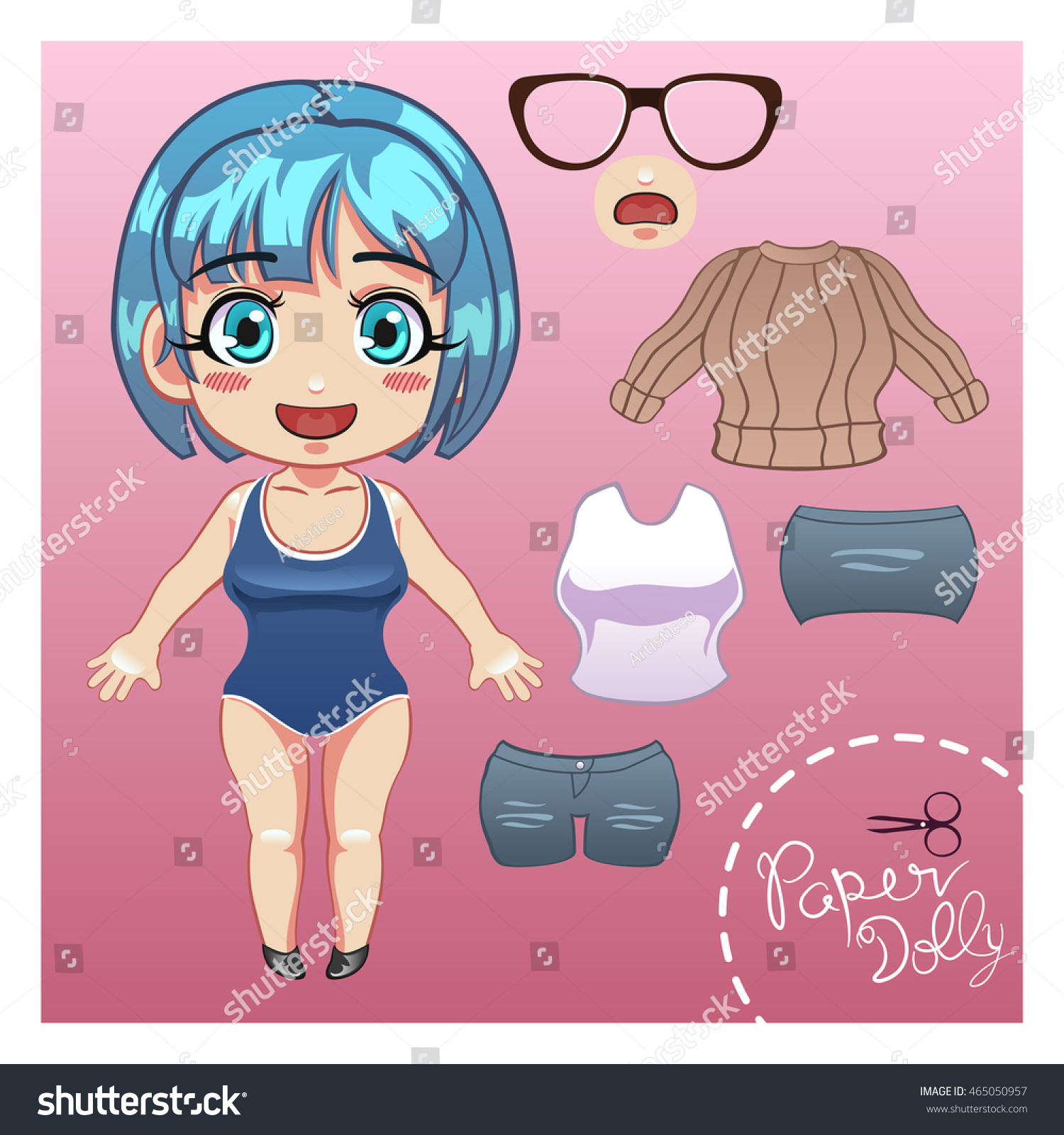 vector illustration cut dress paper doll stock vector royalty free