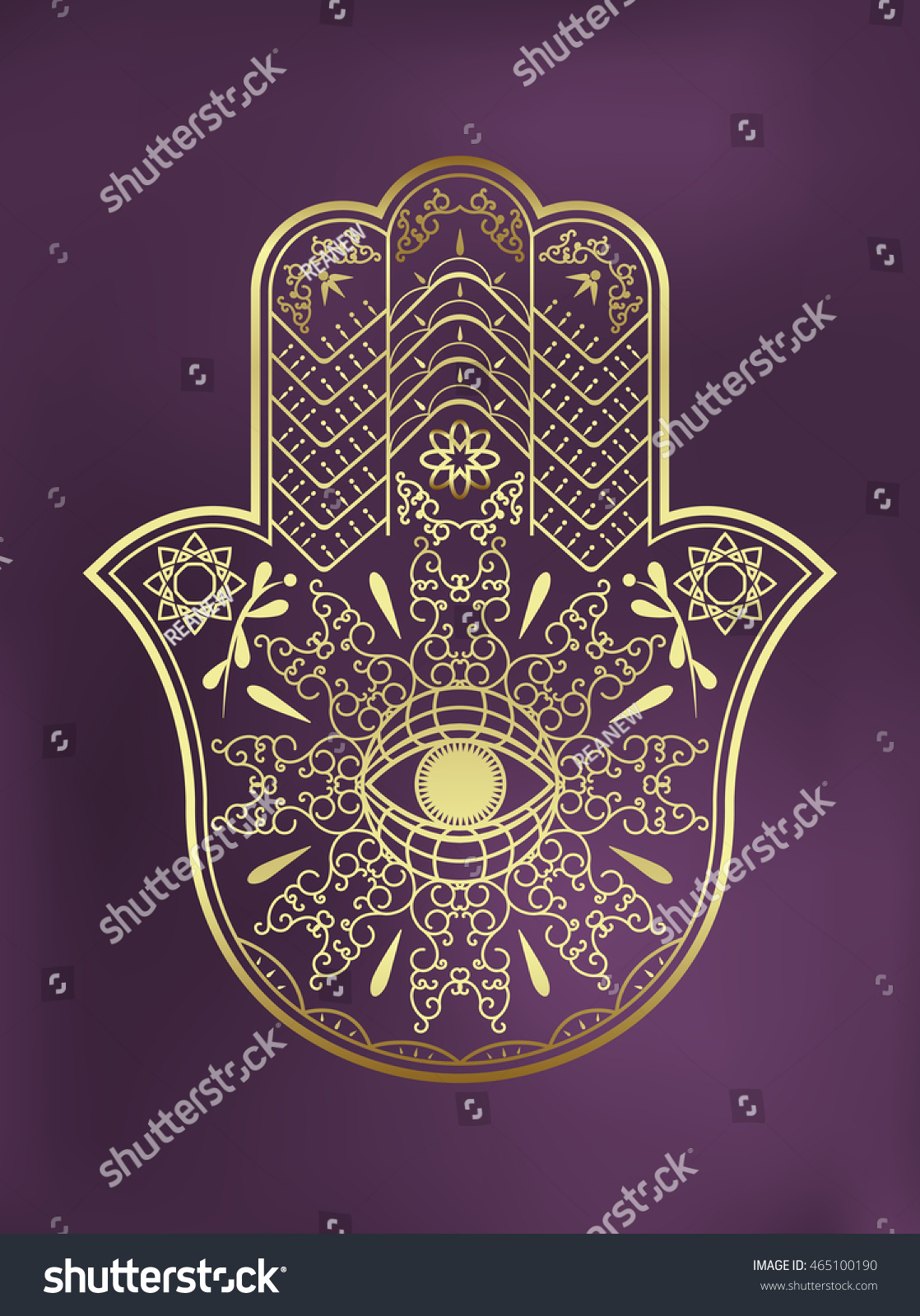 Elegant Ornate Hand Drawn Hamsa Hand Stock Vector Royalty Free