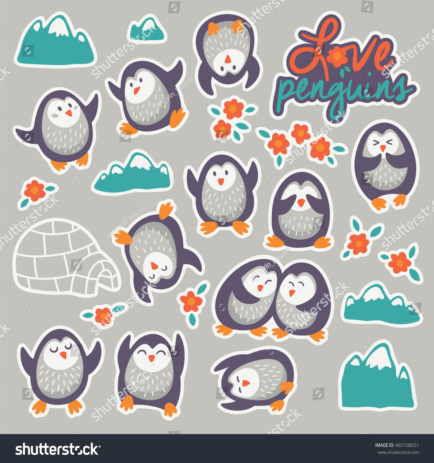 set stickers funny penguins flowers mountains stock vector
