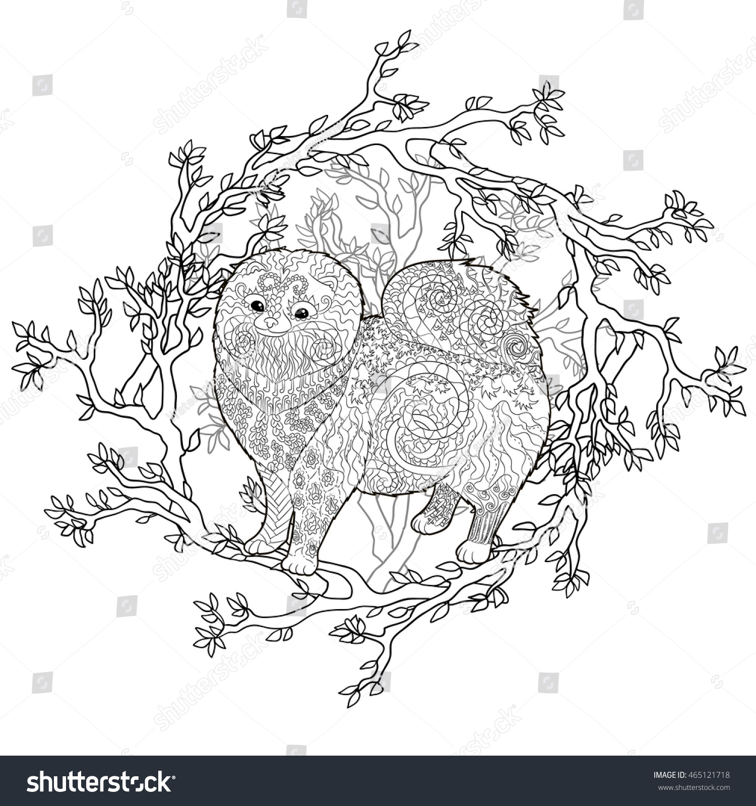 high detail patterned pomeranian dog in zentangle style adult