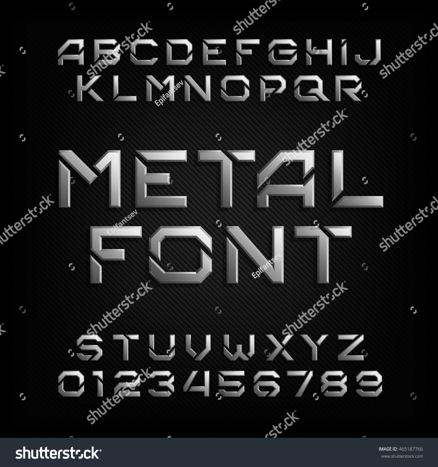 Metal Letters And Numbers Mesmerizing Metal Alphabet Font Chrome Effect Letters Stock Vector 465187766 Review