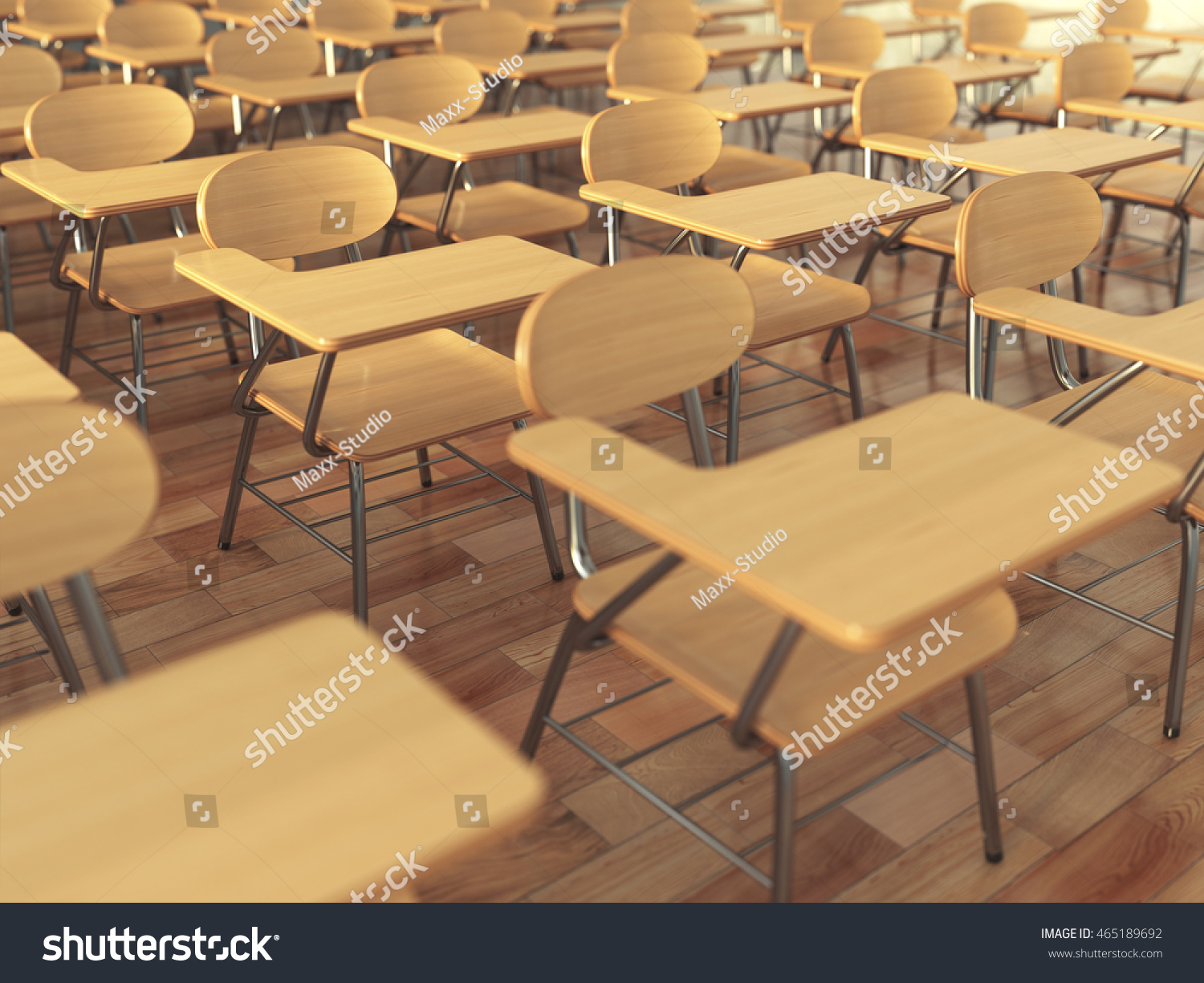 School Classroom With Empty Chairs And Blackboard Back To Concept 3d Illustration