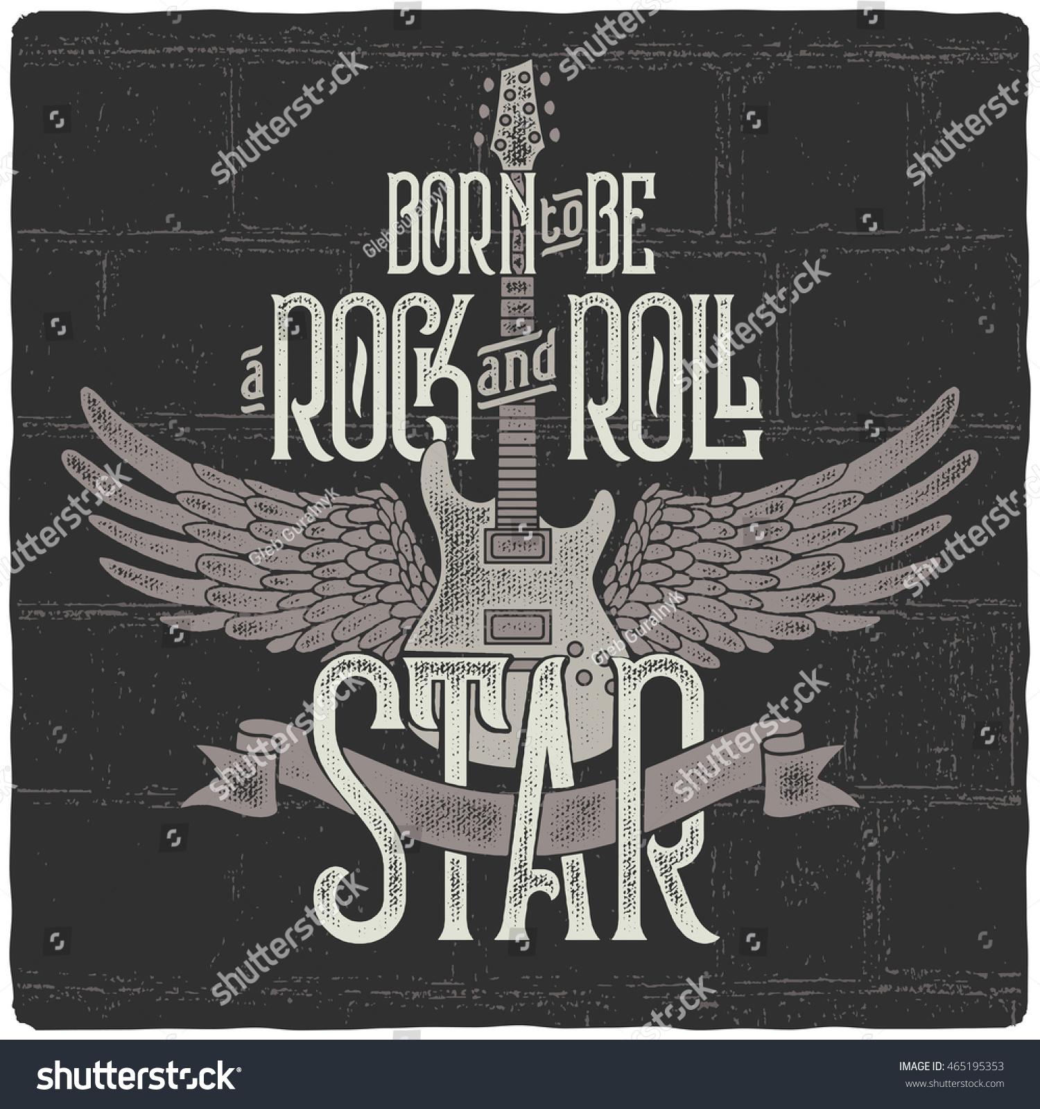 Vintage poster with guitar and wings With text slogan Born to be a rock and roll star