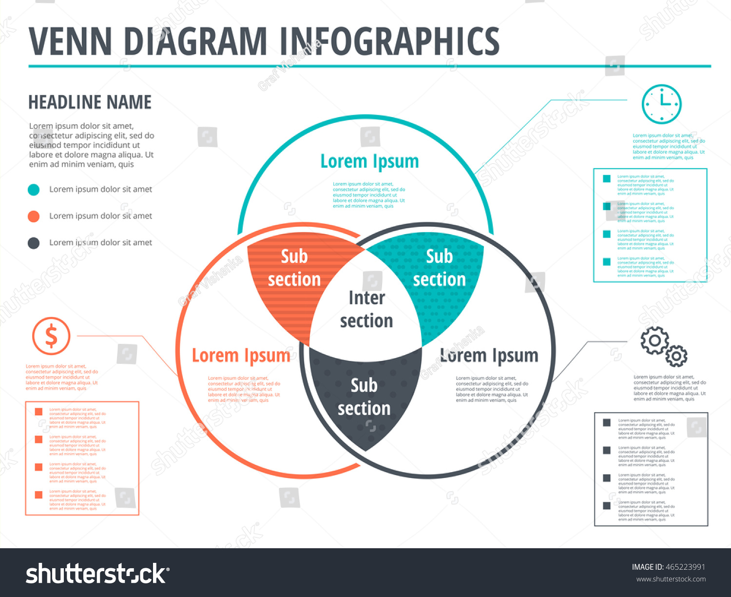 Venn diagram circles infographics template design. Vector overlapping  shapes for set or logic graphic illustration