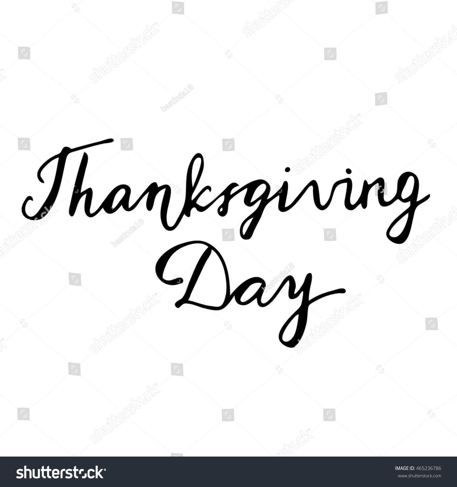 Thanksgiving Day Hand Drawn Lettering Card Stock Vector 465236786 ...
