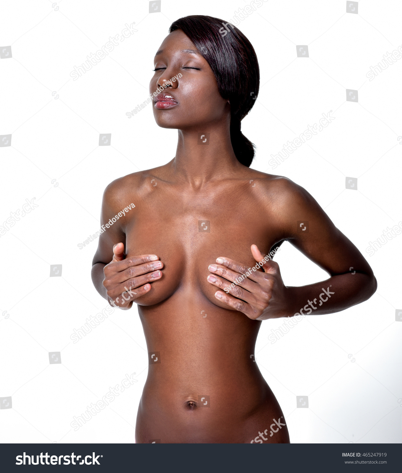 American Beauty Topless beautiful africanamerican young woman clean skin stock photo