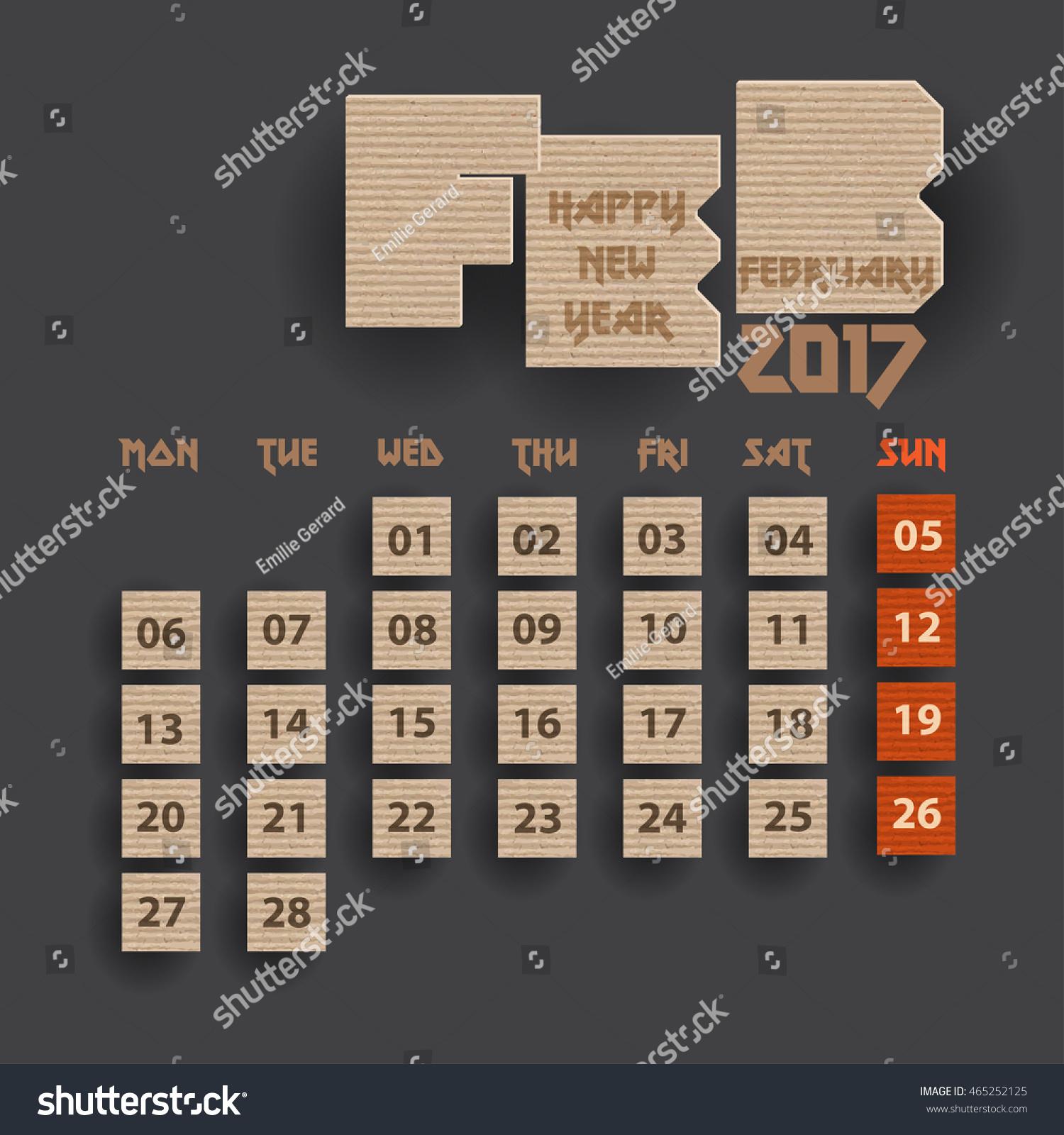 Calendar Typography Vector : Typography cardboard design february calendar stock