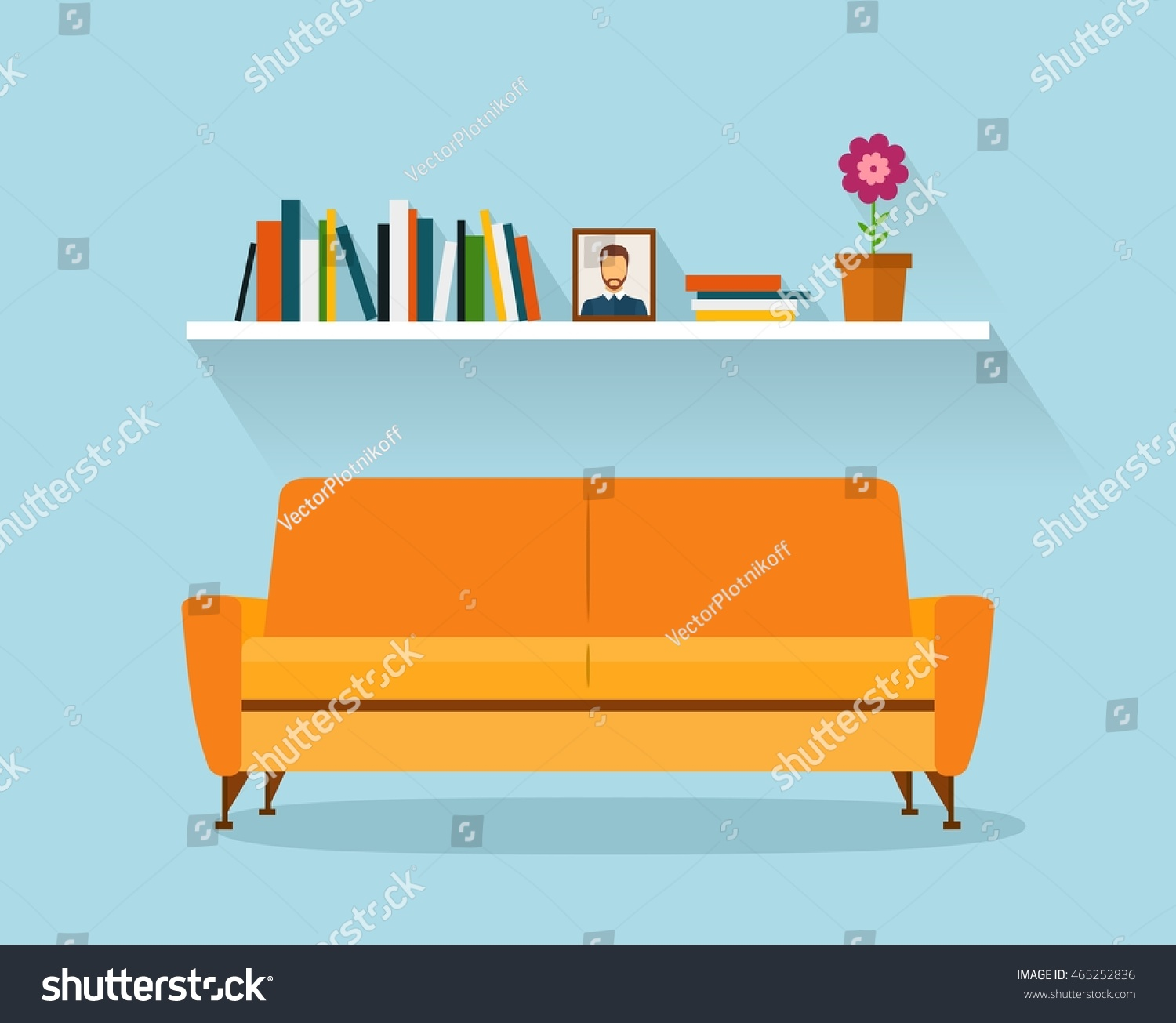 Modern Design Interior Orange Sofa Bookshelves Stock Vector