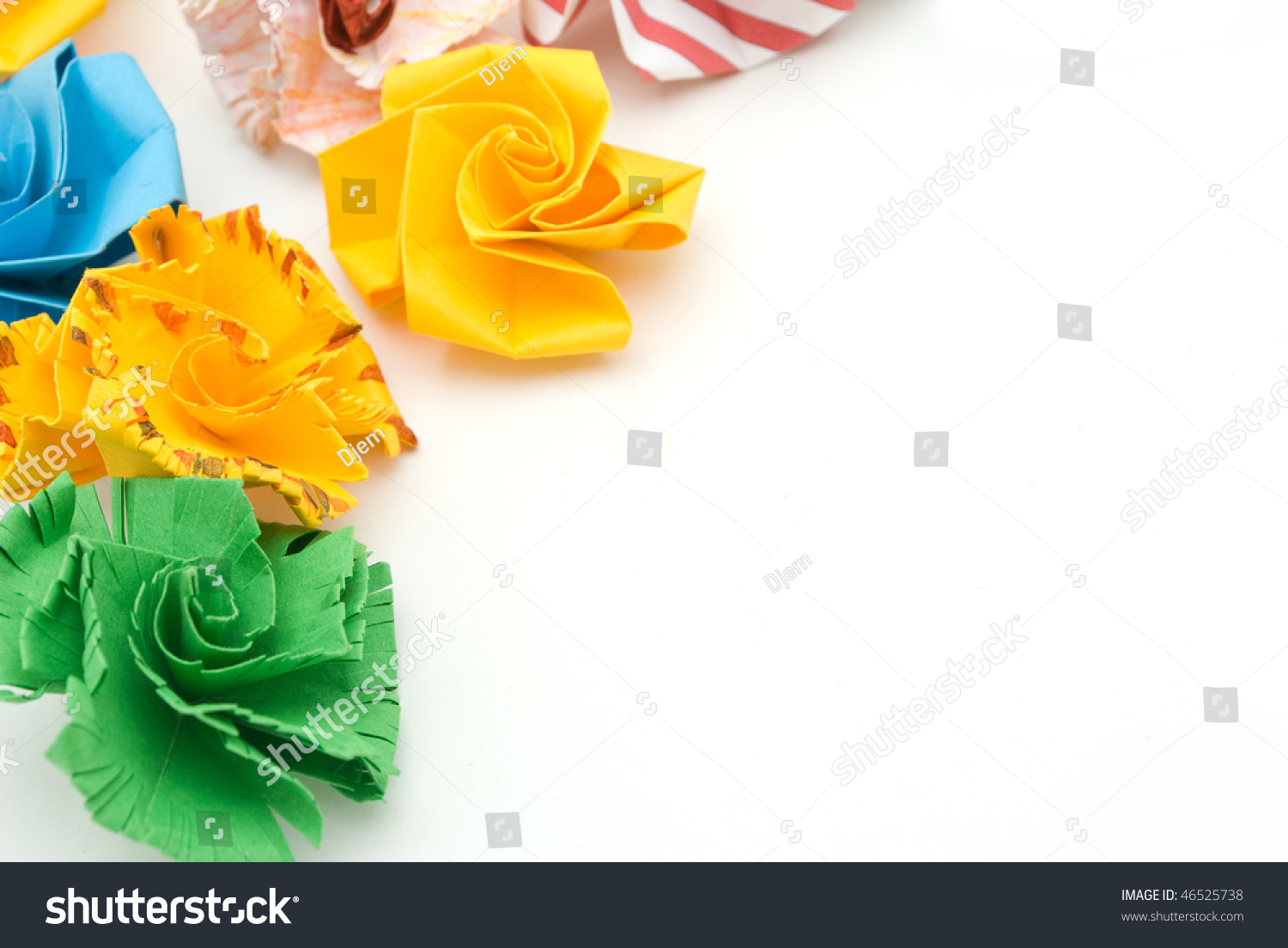 Colorful Origami Flowers Ball Isolated On Stock Photo Royalty Free