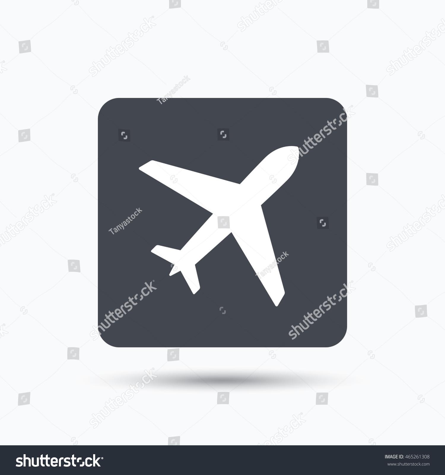 Plane Icon Flight Transport Symbol Gray Stock Vector Royalty Free