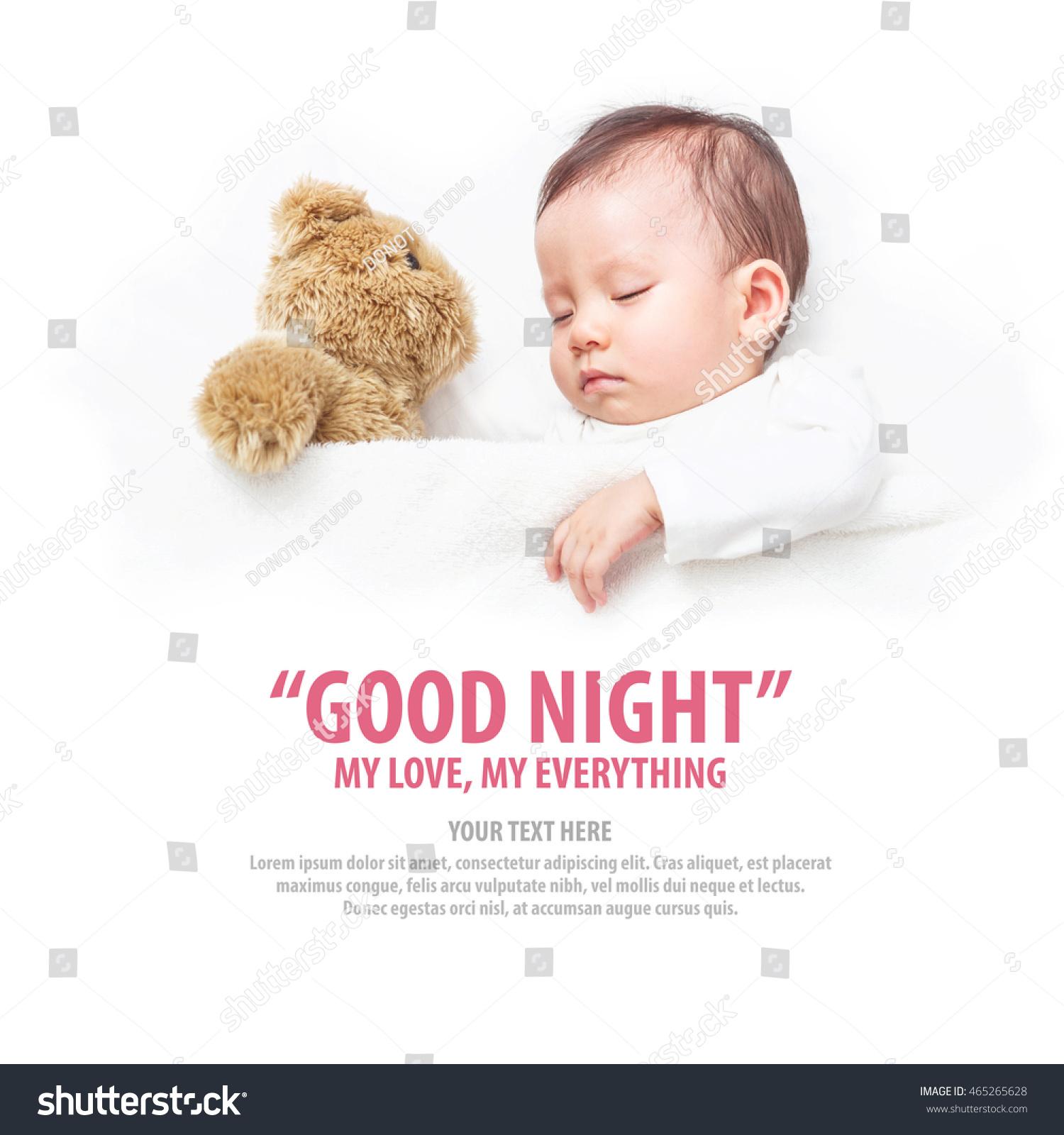 Asian Baby Sleeping Her Teddy Bear Stock Photo (Edit Now) 465265628