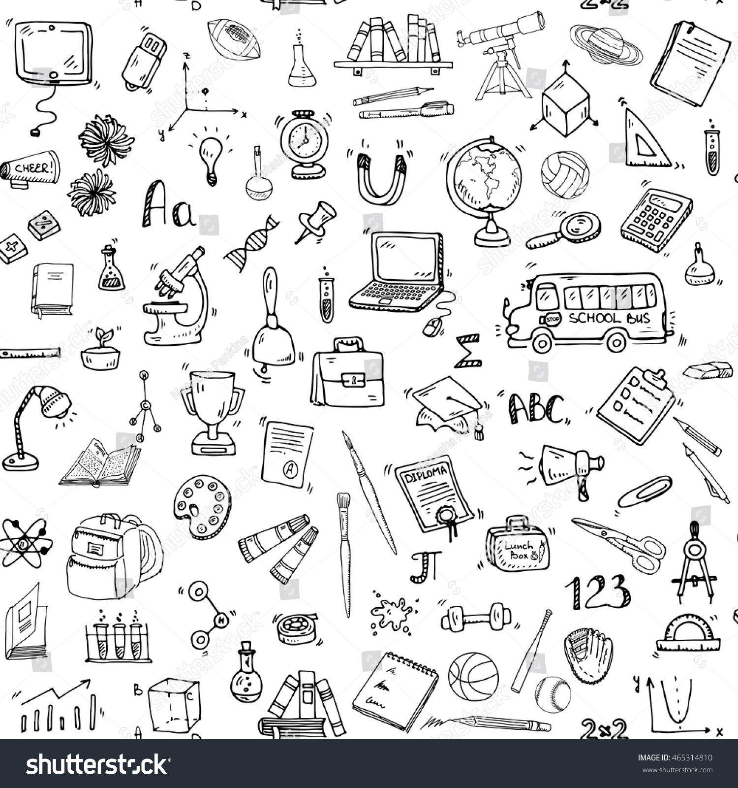 Seamless background with hand drawn doodle School icons set Vector illustration educational symbols Cartoon learning elements Laptop Lunch box Bag Microscope Telescope Books Pencil Sketch bus