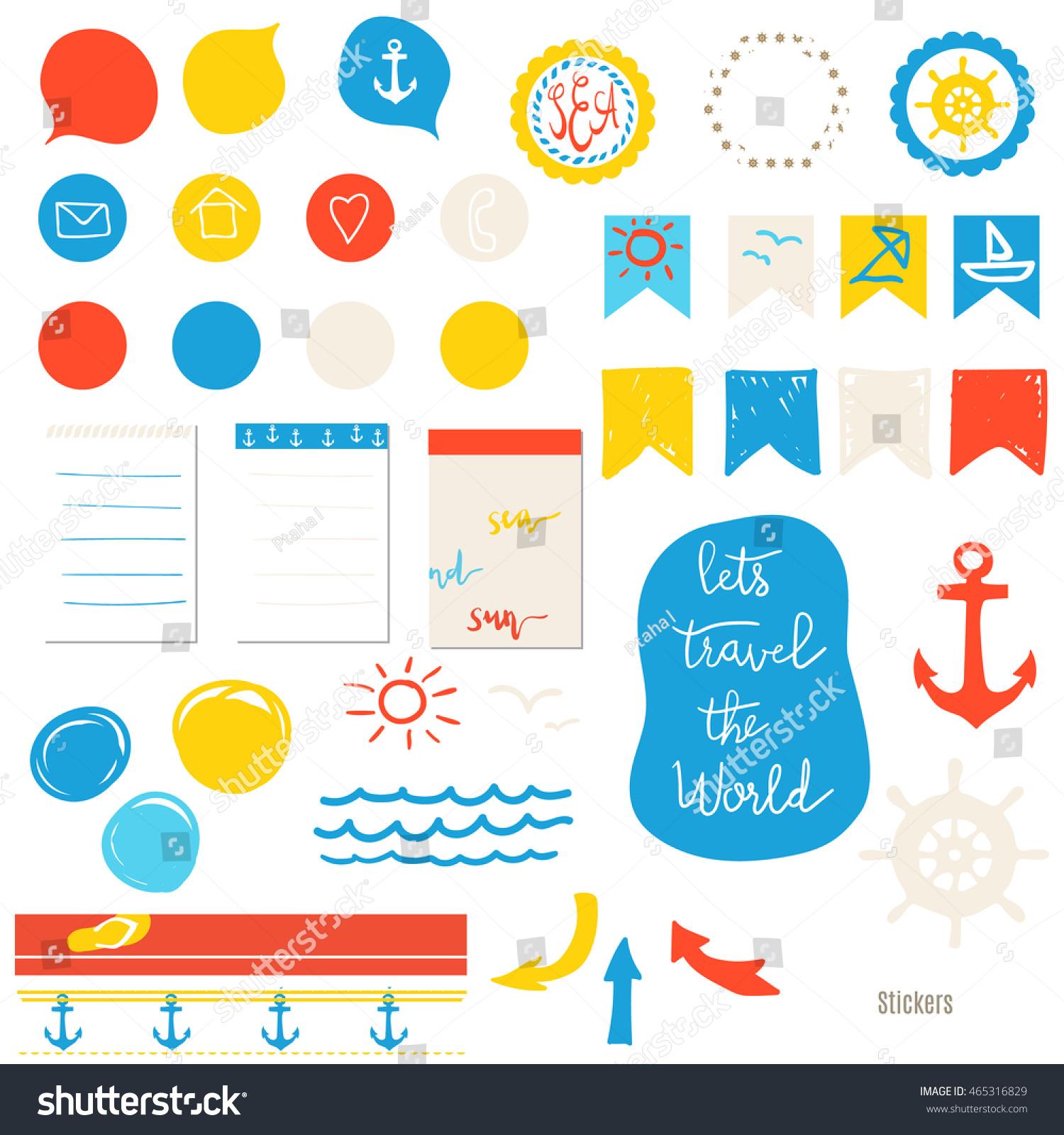 Elements Design Scrapbooking Cards Blogs Marine Stock Vector