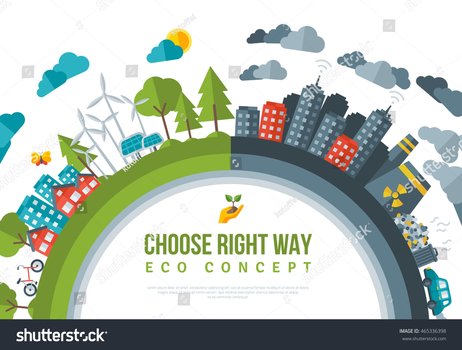 eco friendly choose right way concept stock vector. Black Bedroom Furniture Sets. Home Design Ideas
