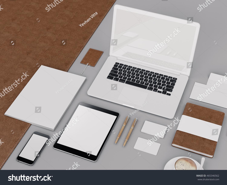 Brown Branding Mockup Template Set On Black Background 3d Rendering 3D Illustration