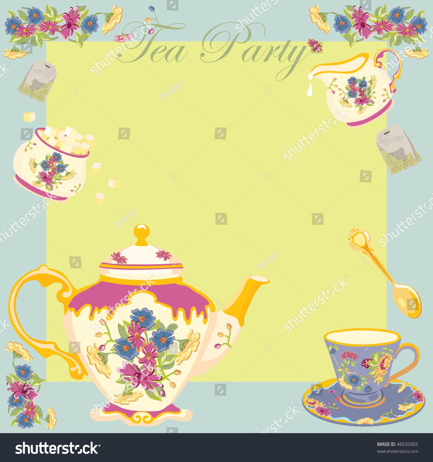 Tea Party Garden Party Invitation Stock Vector 46535002 - Shutterstock