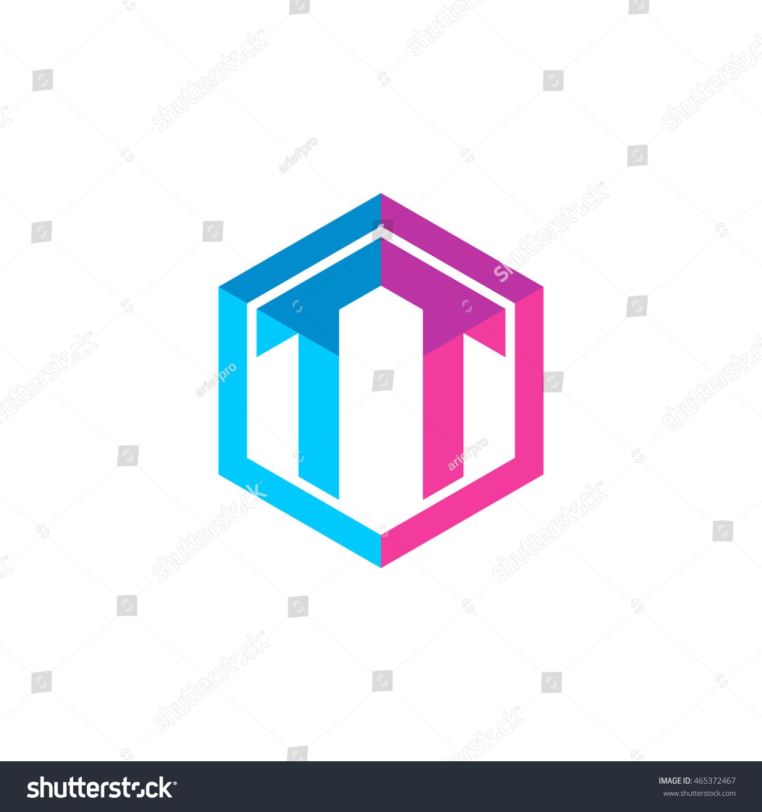 Tj initial luxury ornament monogram logo stock vector - Initial Letters Tt Hexagon Box Shape Logo Blue Pink Purple