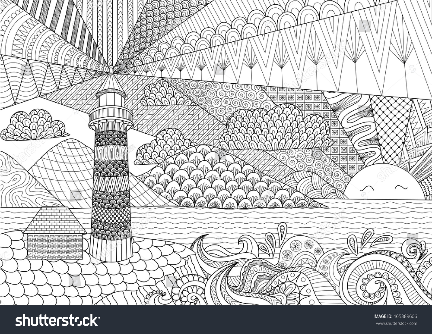 seascape line art design for coloring book for adult anti stress coloring stock vector - Coloring Book Paper Stock