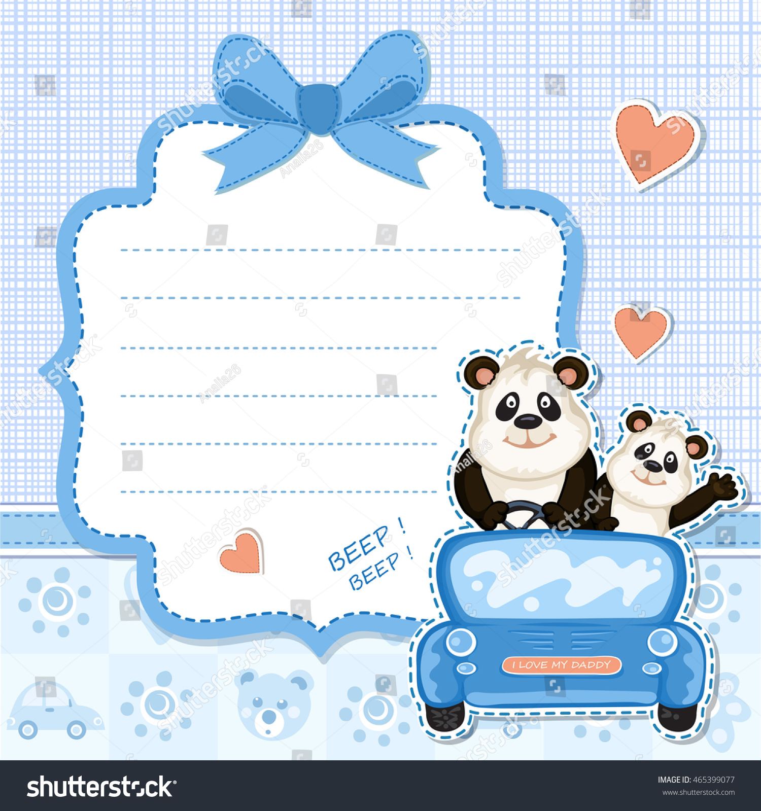 Daddy Baby Panda Blue Car Baby Stock Illustration 465399077 ...