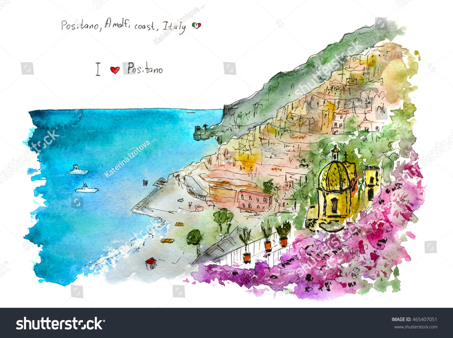 italian view positano amalfi coast hand drawn watercolor sketch. italian view positano amalfi coast hand stock illustration