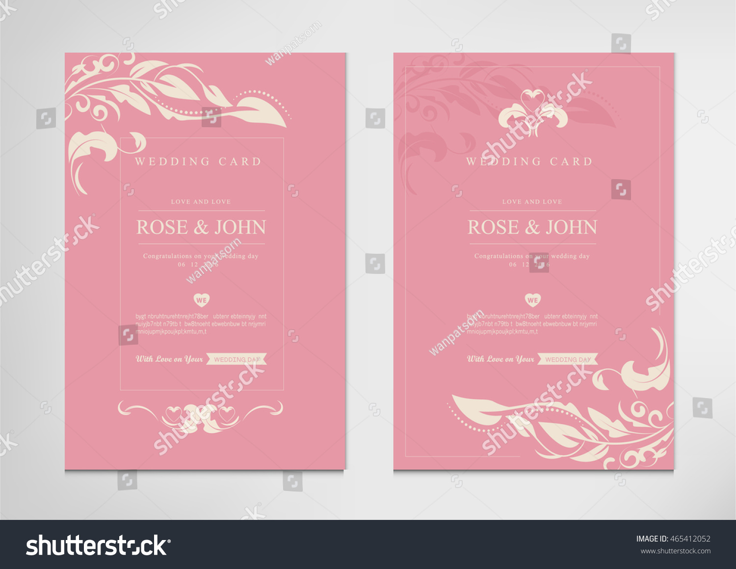Wedding Invite Card Stock: Vintage Wedding Card Invitations Templates Vector Stock