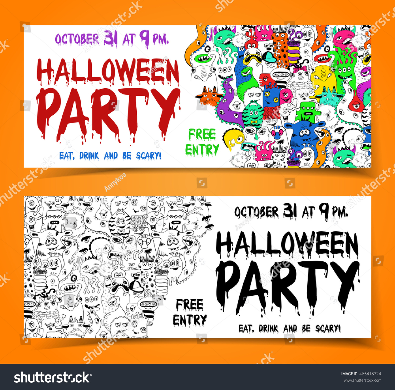Set Halloween Party Flyers Banners Funny Stock Vector 465418724 ...