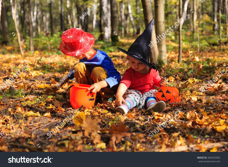 kids halloween costume play autumn park stock photo royalty free 465423302 shutterstock