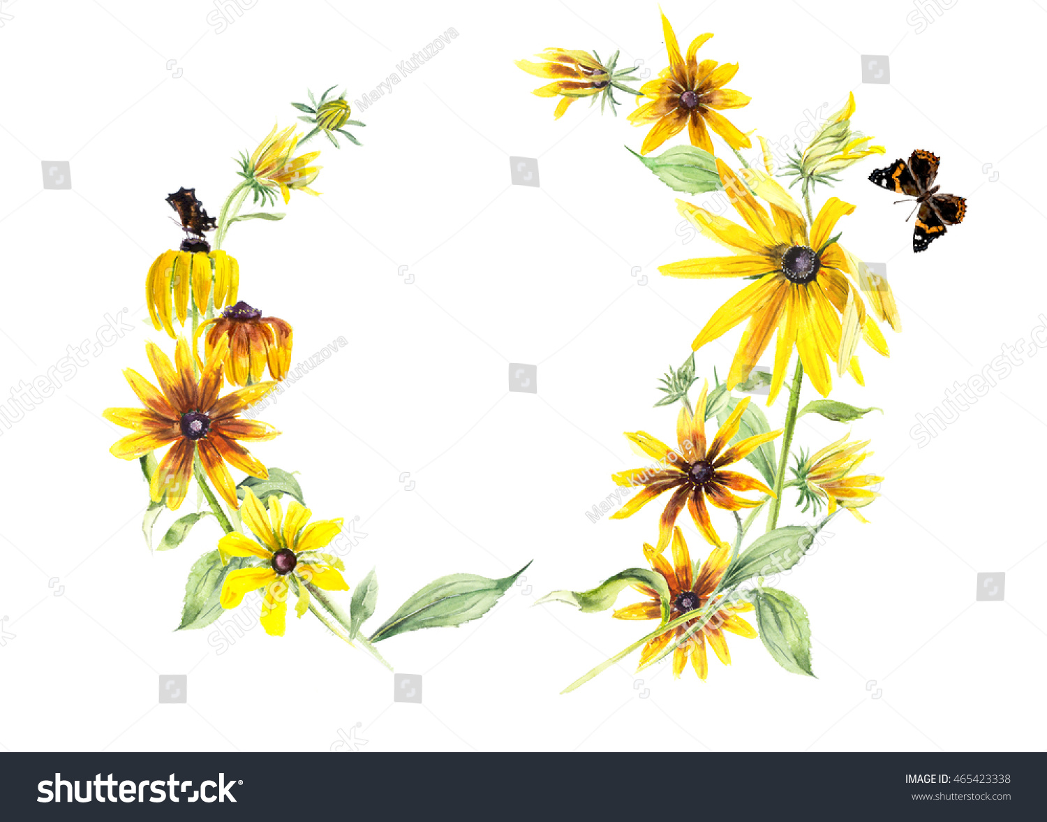 Royalty Free Stock Illustration Of Frame Rudbeckia Butterflies