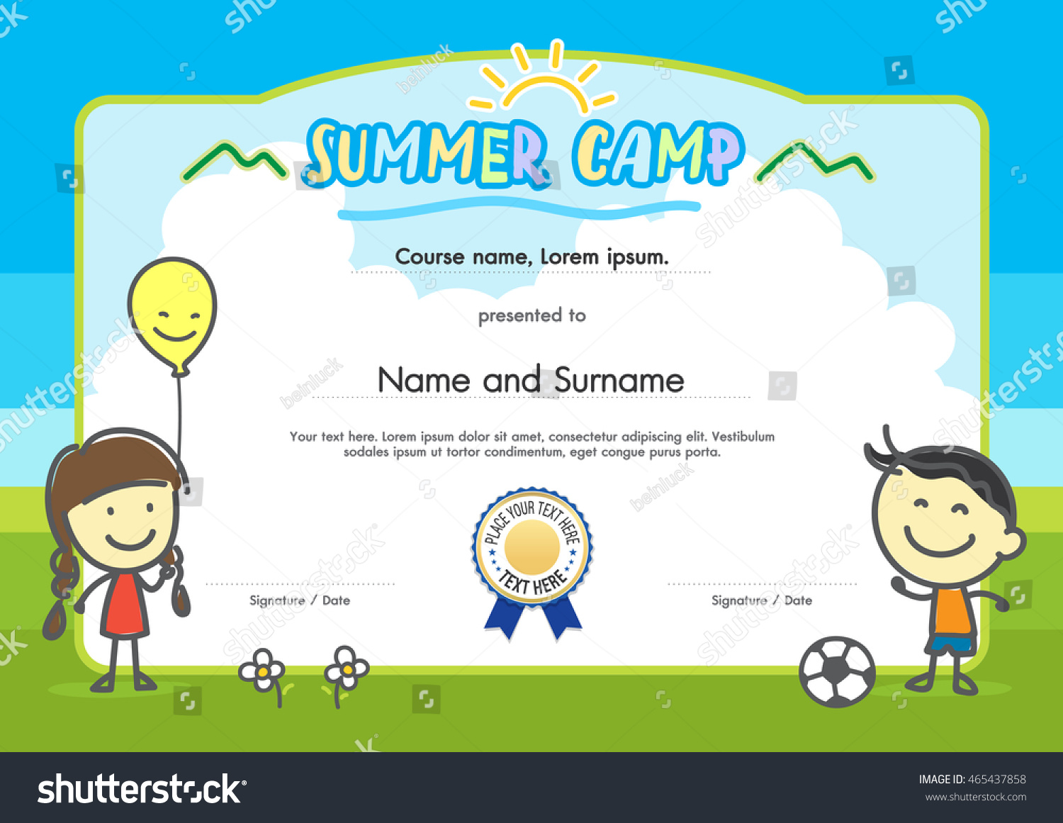 kids summer camp certificate document template stock vector royalty