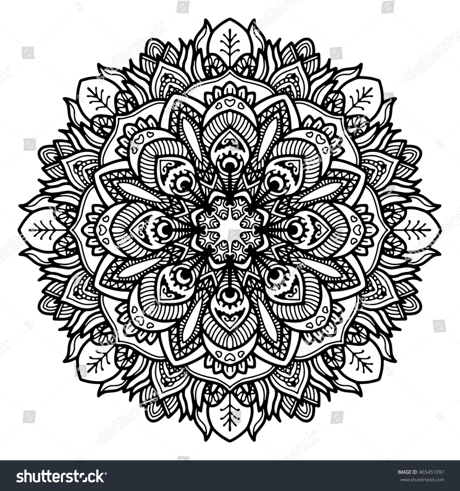 Abstract Circle Coloring Pages : Vector round abstract circle mandala style stock