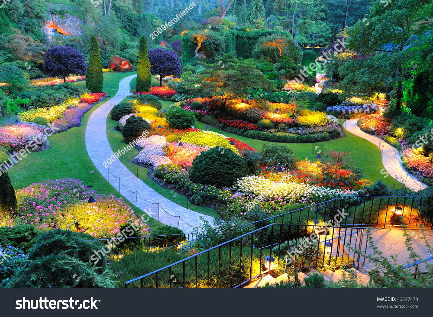 Summer beautiful sunken garden night scene stock photo for Gardening tools victoria bc