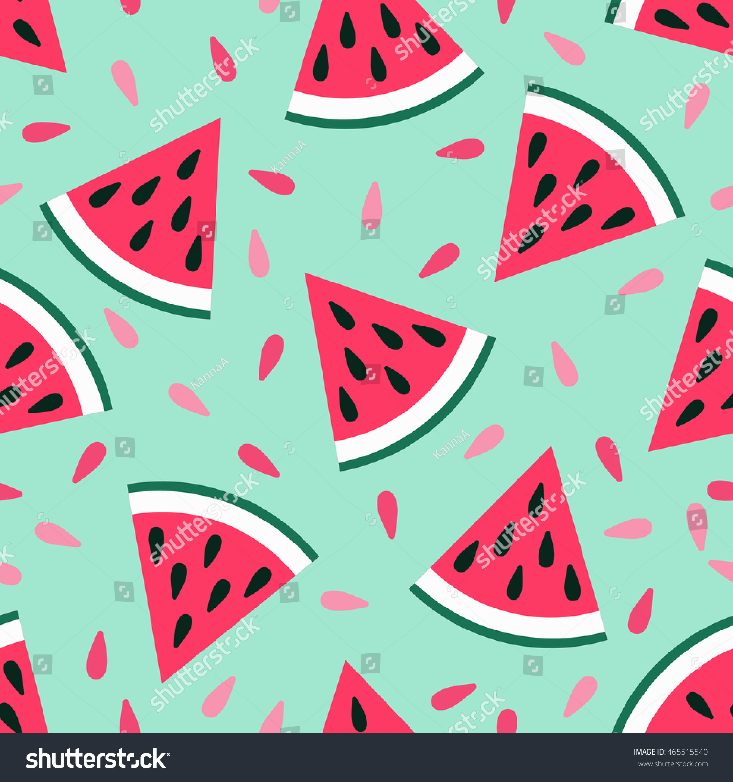 cute seamless watermelon pattern on blue stock vector (royalty free