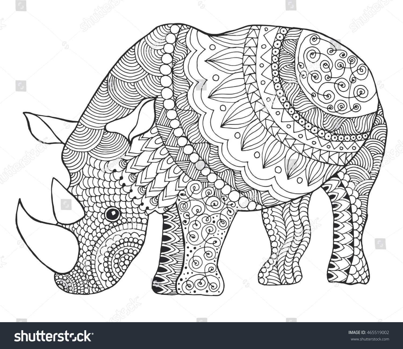 Rhinoceros. Black white hand drawn doodle animal. Ethnic patterned ...