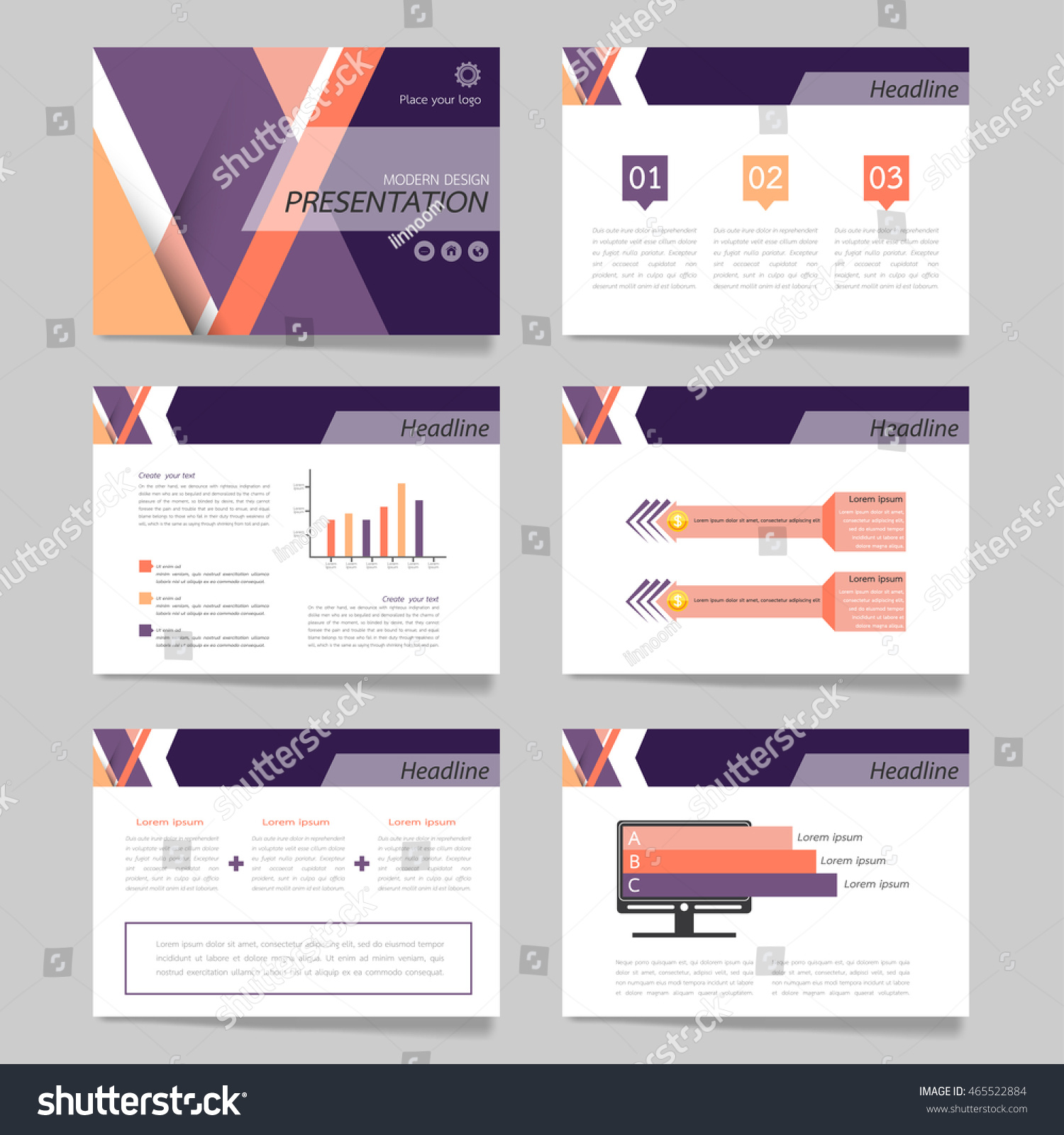 horizontal brochure template - template vector line purple set brochure stock vector