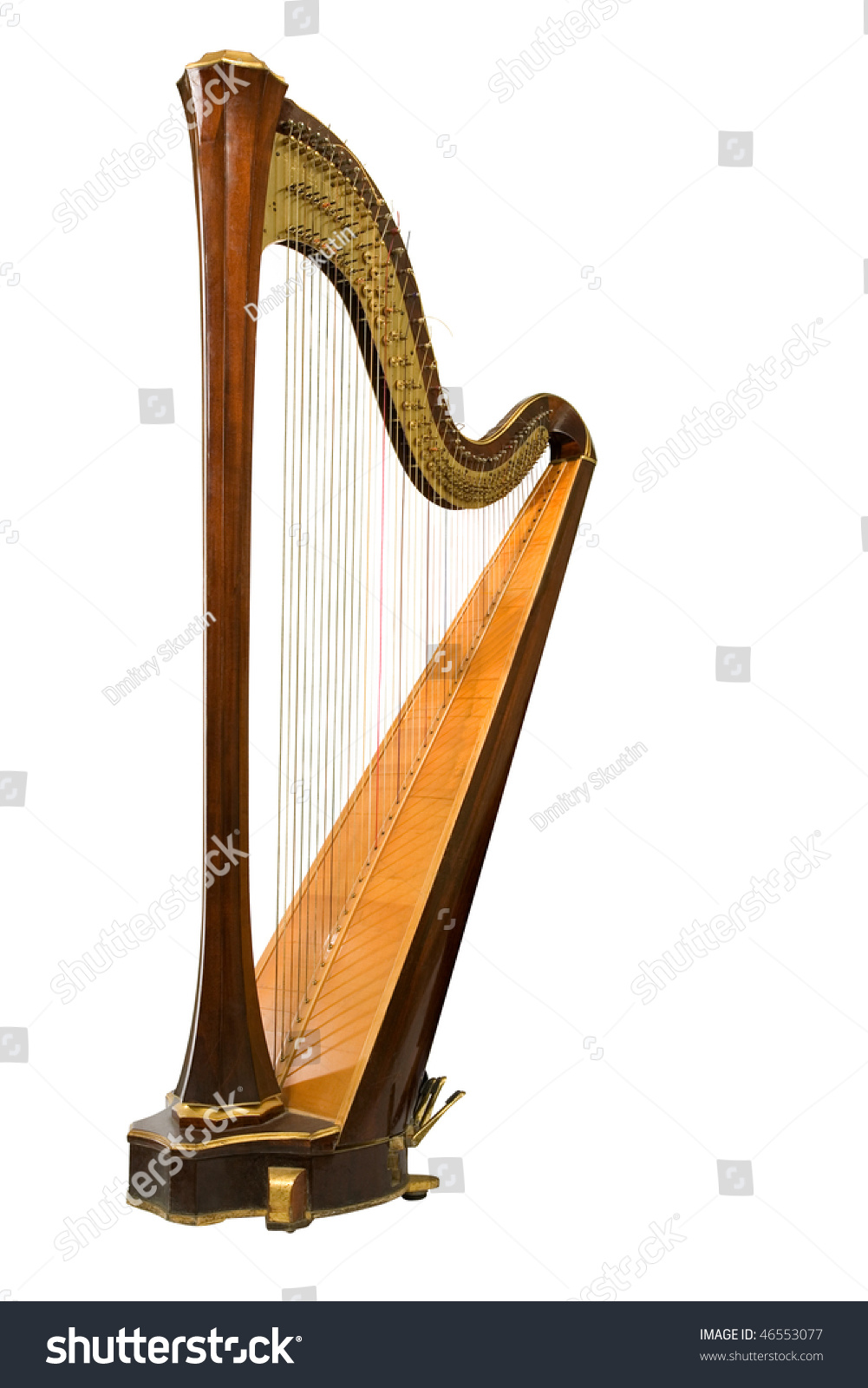 Classical Musical Instrument Harp On White Stock Photo ...