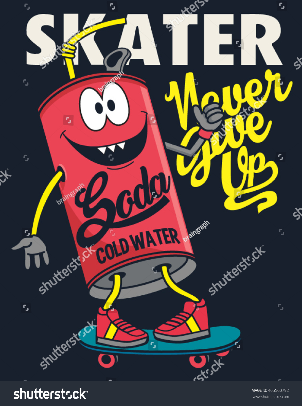 Cartoon Soda Monster Skater Vector de stock (libre de regalías ...