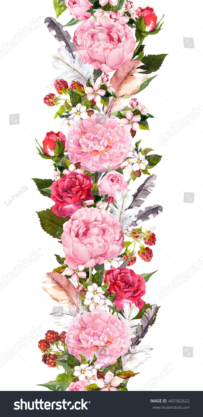 Floral Border With Pink Flowers Roses And Feathers Vintage
