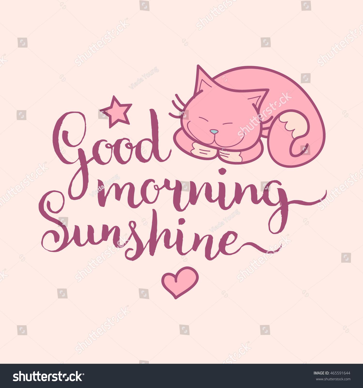 Good Morning Sunshine Hand Lettering Vector Stock Vector Royalty
