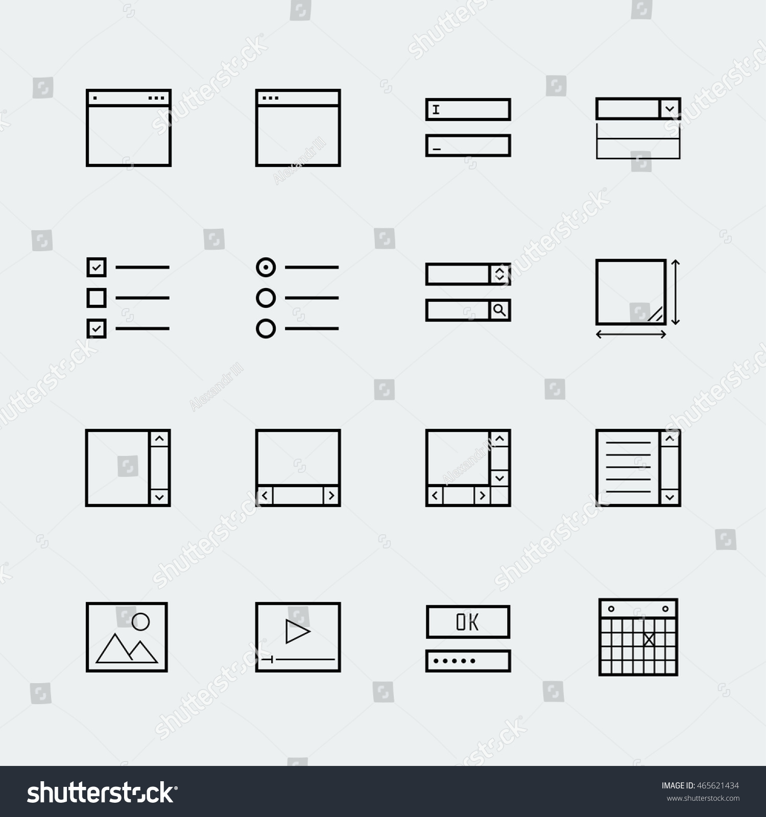 Web App Form Elements Icon Set Stock Vector (Royalty Free) 465621434