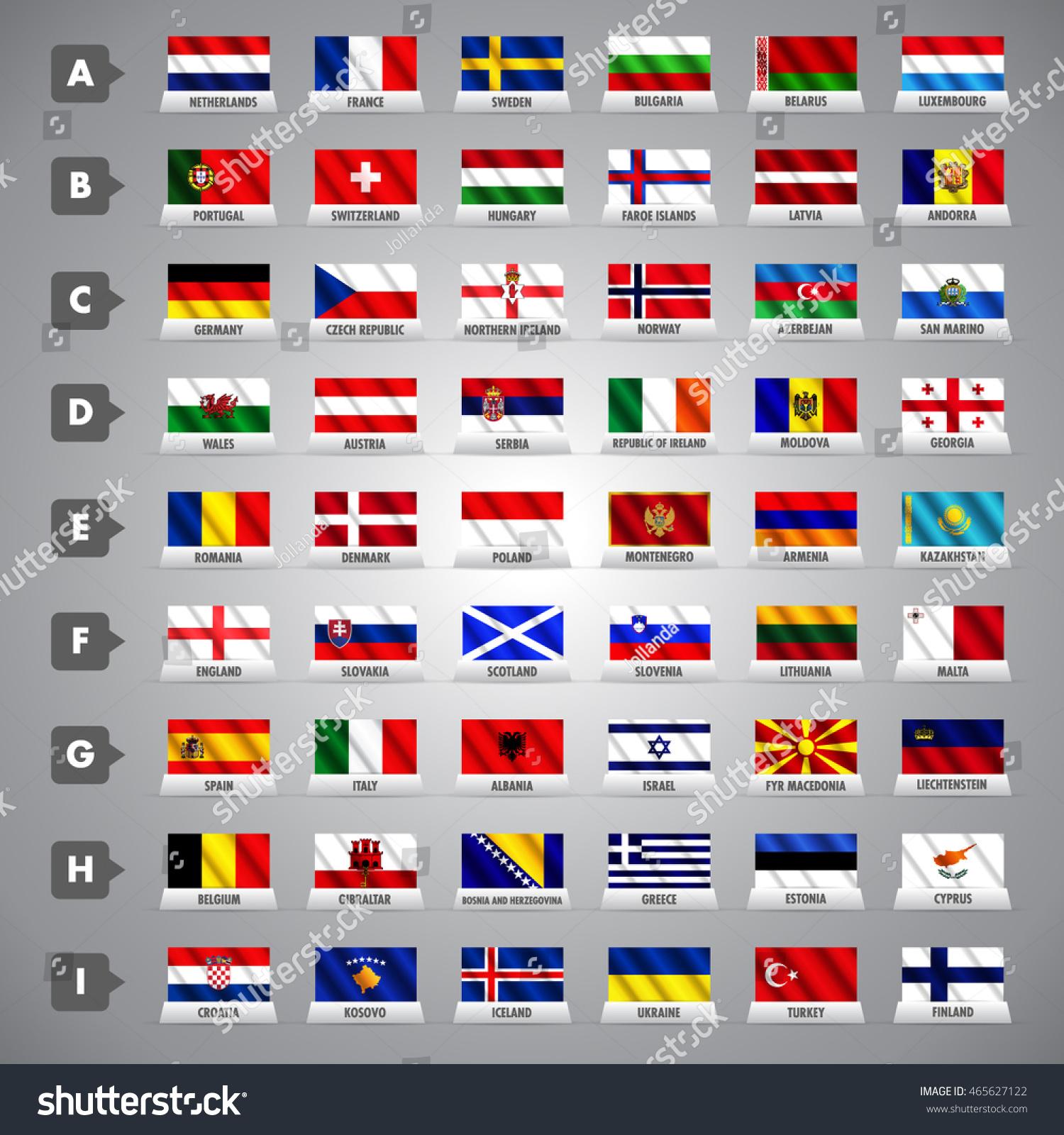 World Cup 2018 Team Flags Vector