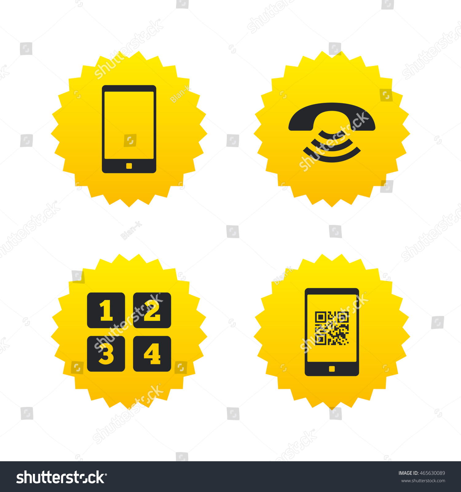 Phone icons smartphone qr code sign stock vector 465630089 phone icons smartphone with qr code sign call center support symbol cellphone keyboard biocorpaavc