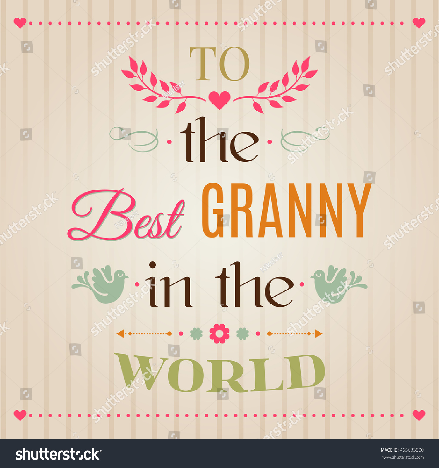 Vintage Happy Birthday Typographical Greeting Card To The Best Granny In World Lettering